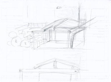 カーポートデザインラフスケッチ